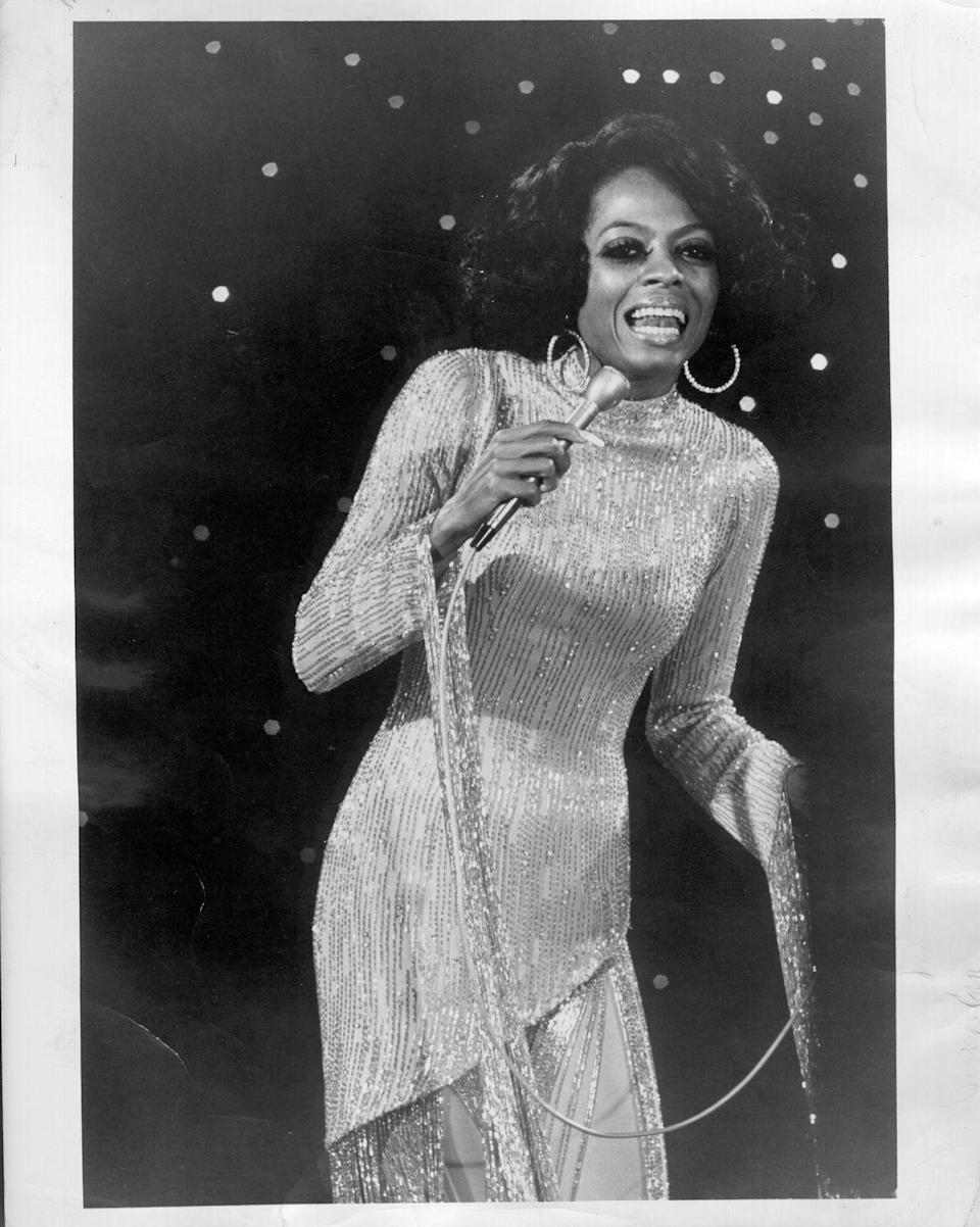 """<p>Diana Ross left the Supremes to <a href=""""https://www.biography.com/musician/diana-ross"""" rel=""""nofollow noopener"""" target=""""_blank"""" data-ylk=""""slk:pursue a solo career"""" class=""""link rapid-noclick-resp"""">pursue a solo career</a> in 1969. In 1970, she released her first solo studio album, which housed the hit single """"Ain't No Mountain High Enough.""""</p>"""