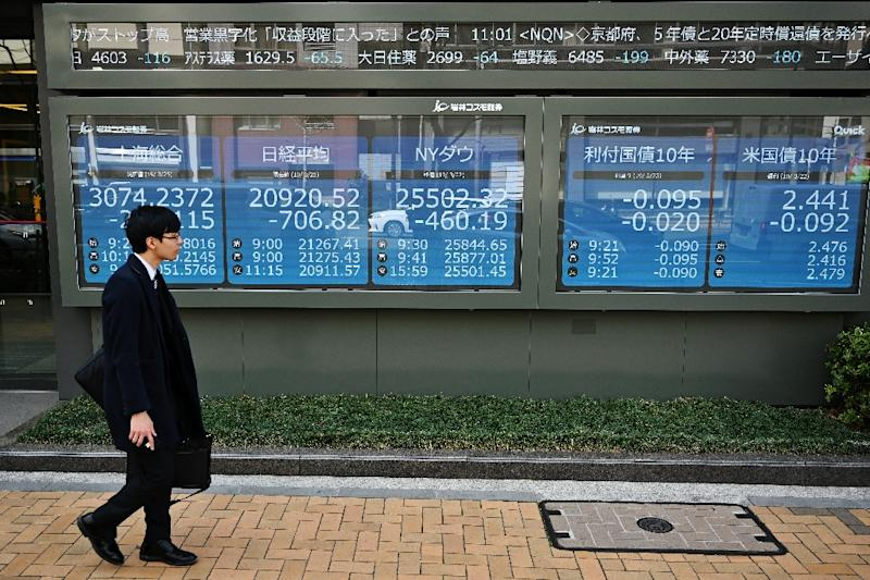 Tokyo shares opened sharply lower, taking a negative lead from Wall Street