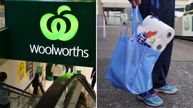 Pictured is a split photo (left) the front of a Woolworths supermarket and (right) a customer holding a reusable bag filled with toilet paper.