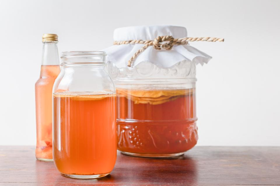 Scoby with Kombucha tea popular fermented healthy drink natural high probiotics.