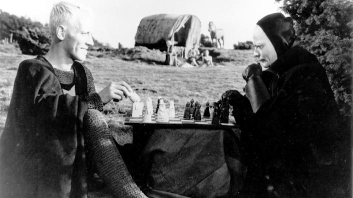 """Antonius Block (Max von Sydow) challenges Death (Bengt Ekerot) to a game of chess in """"The Seventh Seal."""""""