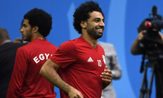 Mohamed Salah looks relaxed in training on Monday and his manager is confident he will be fit to start against Russia.