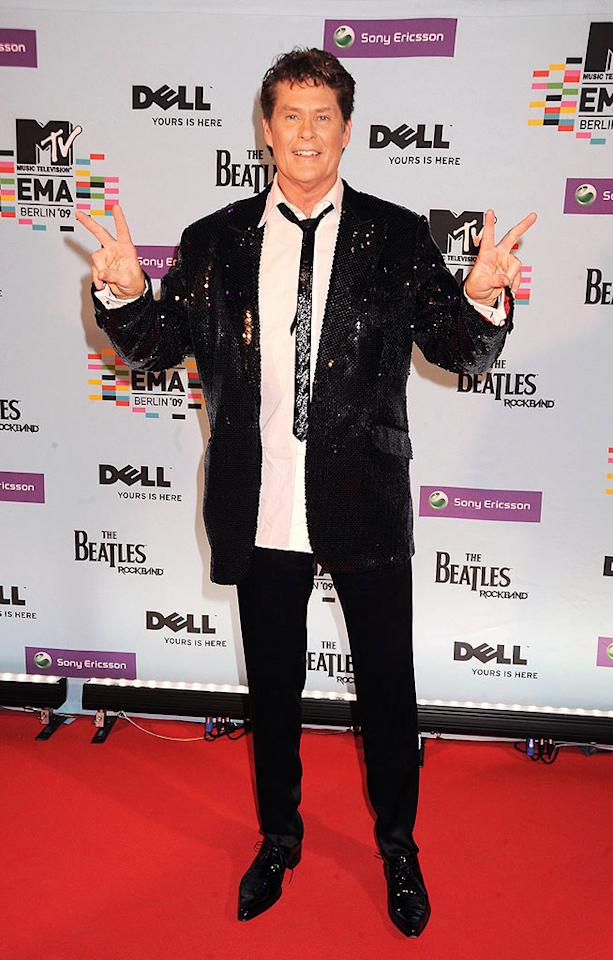 "David Hasselhoff also donned a bizarre outfit. He's had several music hits in Germany, but his sequined tie and blazer were a major miss! Dave M. Benett/<a href=""http://www.gettyimages.com/"" target=""new"">GettyImages.com</a> - November 5, 2009"