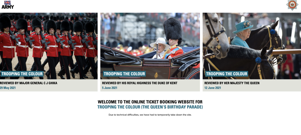 The Trooping the Colour website said it was down because of technical difficulties. (MOD)