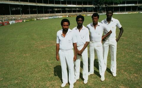 Andy Roberts, Michael Holding, Colin Croft, and Joel Garner line up on the field in 1981 - Credit: Allsport
