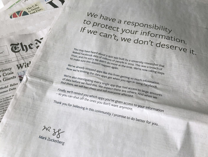 FILE - This March 25, 2018 file photo shows a full page advertisement in The New York Times displayed in New York. Details from more than 500 million Facebook users have been found available on a website for hackers. The information appears to be several years old, but it is another example of the vast amount of information collected by Facebook and other social media sites, and the limits to how secure that information is. (AP Photo/Jenny Kane, File)
