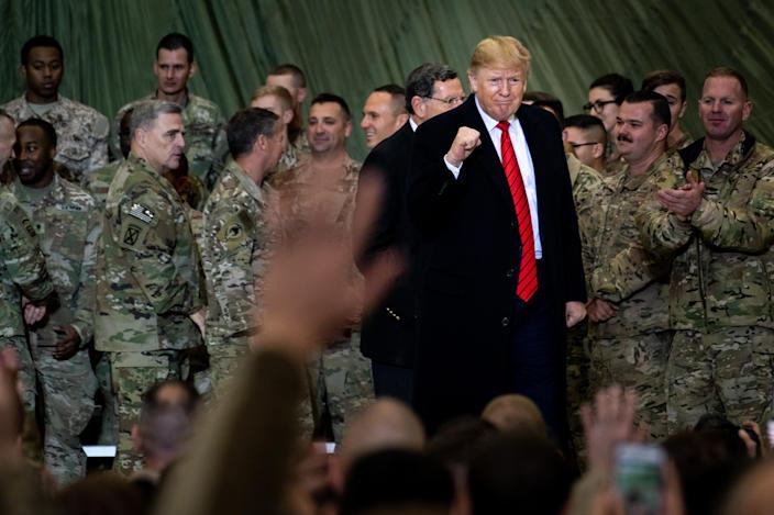 President Donald Trump addresses troops at Bagram Air Base in Kabul, Afghanistan, Nov. 28, 2019. (Erin Schaff/The New York Times)