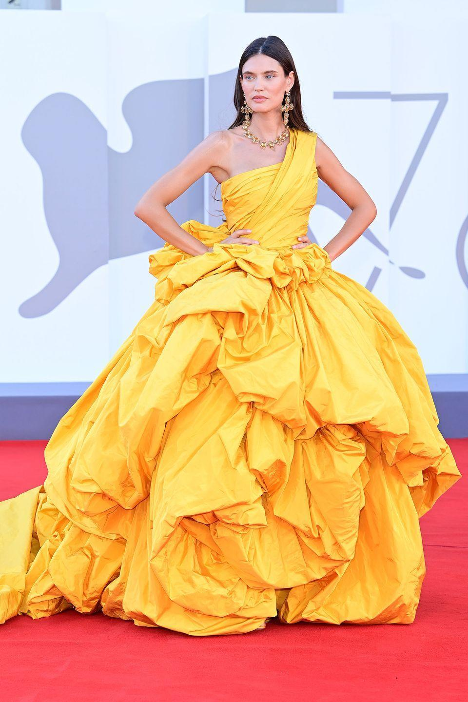 <p>Bianca Balti wore a vibrant Dolce & Gabbana gown with extravagant jewellery. </p>