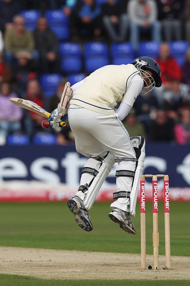 CARDIFF, WALES - MAY 26:  Tillakaratne Dilshan is struck by a delivery from Stuart Broad during day one of the 1st npower test match between England and Sri Lanka at the Swalec Stadium on May 26, 2011 in Cardiff, Wales.  (Photo by Michael Steele/Getty Images)