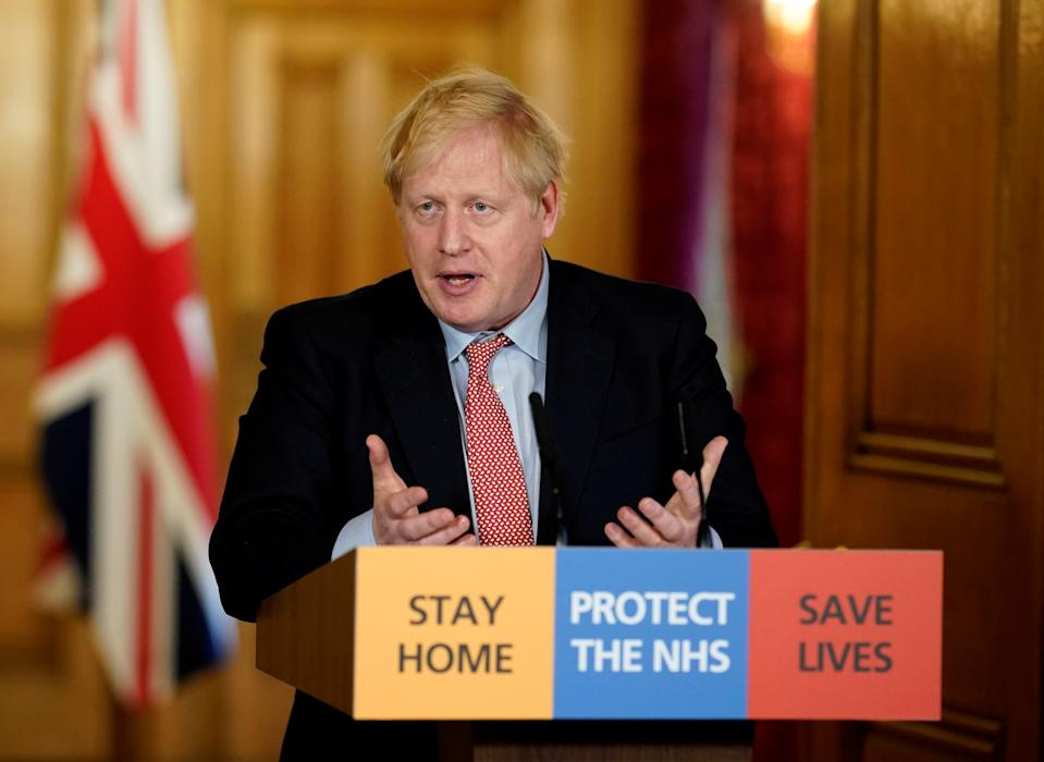 Britain's Prime Minister Boris Johnson speaks during his first remote news conference on the coronavirus disease (COVID-19) outbreak, in London, Britain March 25, 2020. Andrew Parsons/Pool via REUTERS