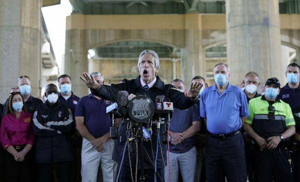 PHOTO: PBA President Pat Lynch speaks at a press conference, with representatives of other NYPD and law enforcement unions in attendance, at the Icahn Stadium parking lot in New York City, June 9, 2020. (Timothy A. Clary/AFP via Getty Images)