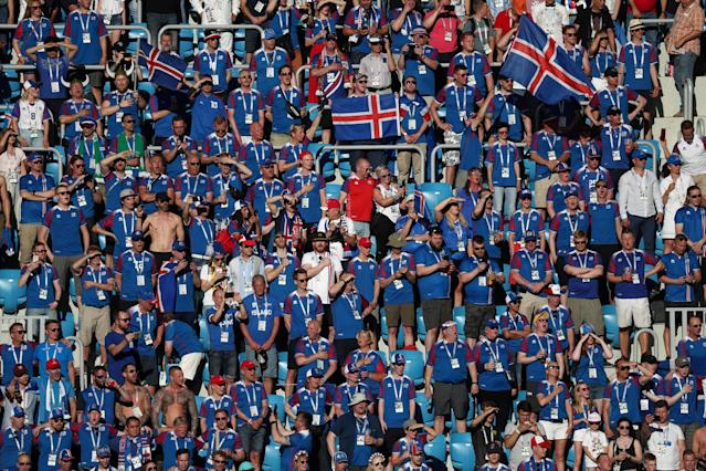 Soccer Football - World Cup - Group D - Nigeria vs Iceland - Volgograd Arena, Volgograd, Russia - June 22, 2018 Iceland fans inside the stadium before the match REUTERS/Sergio Perez