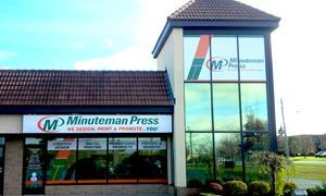 Minuteman Press printing franchise, Guelph, Ontario storefront. Minuteman Press in Guelph has remained open during COVID-19 to support local businesses since print is an essential business.
