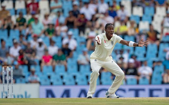 England's bowler Jofra Archer appeals unsuccessfully for the wicket of South Africa's batsman Rassie van der Dussen on day three of the first cricket test match between South Africa and England at Centurion Park, Pretoria, South Africa, Saturday, Dec. 28, 2019. - AP