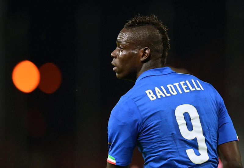 Italian forward Mario Balotelli during a football friendly against Luxembour in Perugia on June 4, 2014