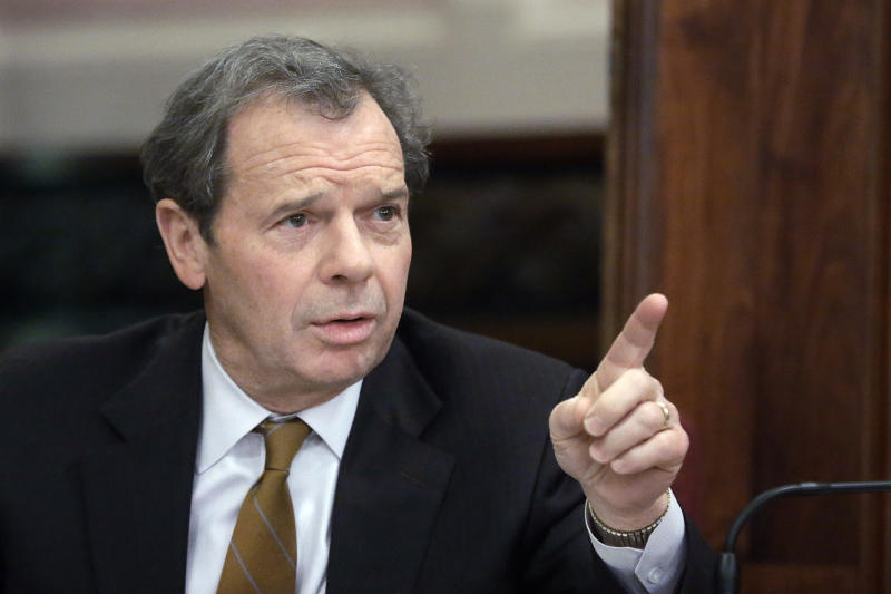 """In this Jan. 2, 2013 photo, Illinois Senate President John Cullerton, D-Chicago, speaks to lawmakers during a committee hearing at the Illinois State Capitol in Springfield, Ill. Despite a nudge from the home-state president, soaring support in the polls and national momentum from the November elections, the stalling of the gay marriage push in Illinois shows how tricky it is to get a legislature to approve same-sex unions. Cullerton has mentioned that same-sex marriage, along with gun control, are measures that are """"always going to be very, very tough"""" to pass. (AP Photo/Seth Perlman)"""