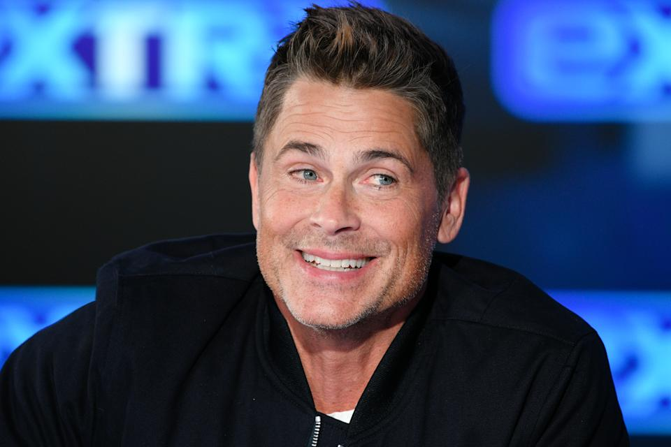 """Rob Lowe visits """"Extra"""" at Burbank Studios on January 29, 2020 in Burbank, California. (Photo by Noel Vasquez/Getty Images)"""
