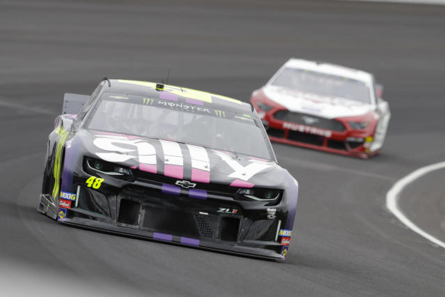 Jimmie Johnson drives through the first turn during the NASCAR Brickyard 400 auto race at Indianapolis Motor Speedway, Sunday, Sept. 8, 2019, in Indianapolis. (AP Photo/Darron Cummings)