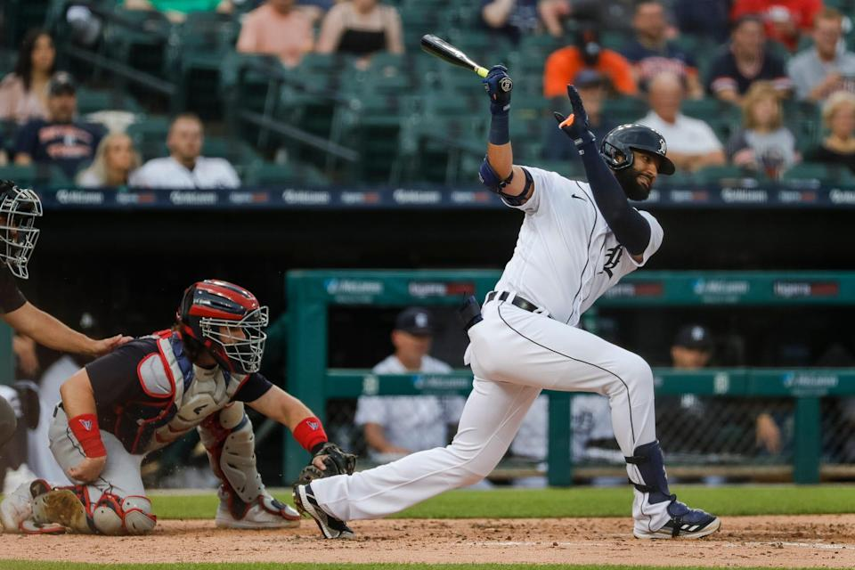 Tigers right fielder Nomar Mazara bats against Cleveland during the fourth inning at the Comerica Park on Tuesday, May 25, 2021.