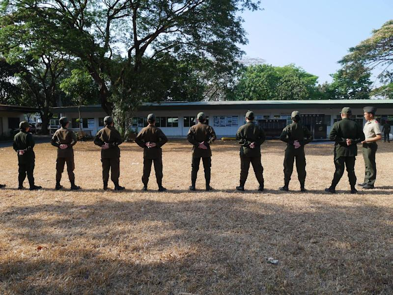 Cadets at an ROTC class in UP Diliman. Photo: Rachel Malaguit