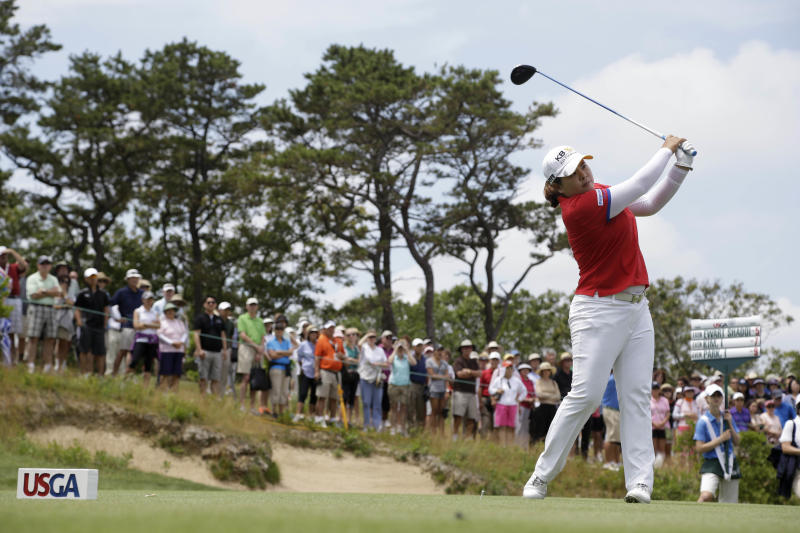 Inbee Park, of South Korea, tees off on the second hole during the third round at the U.S. Women's Open golf tournament at Sebonack Golf Club in Southampton, N.Y., Saturday, June 29, 2013. (AP Photo/Seth Wenig)