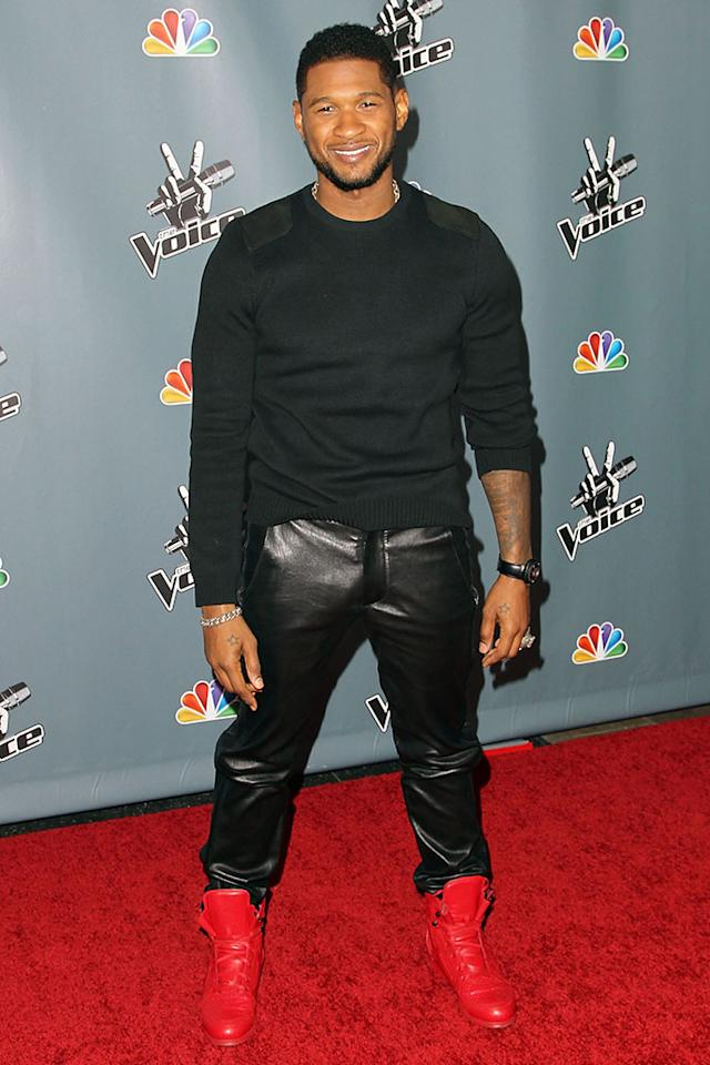"Usher arrives at the screening of NBC's ""The Voice"" Season 4 at TCL Chinese Theatre on March 20, 2013 in Hollywood, California."