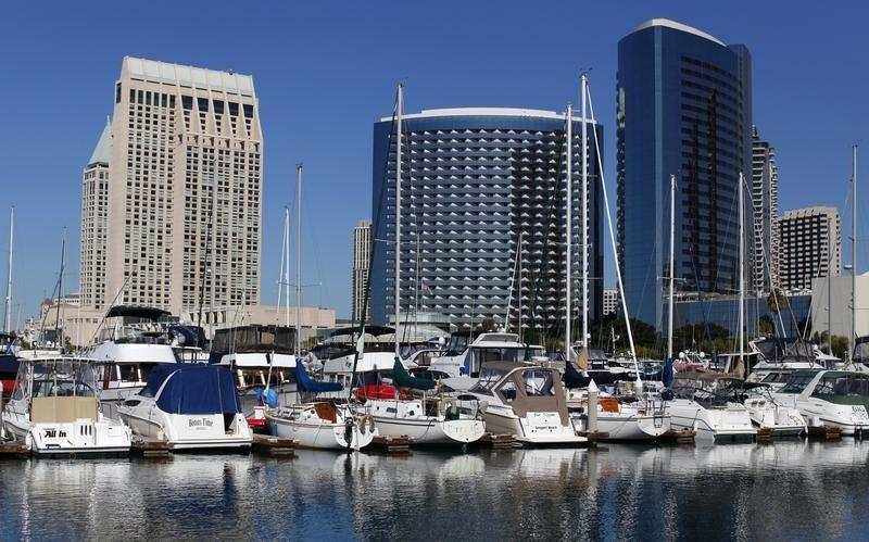 The Hyatt and Marriott hotels are pictured next to the Embarcadero Marina in down town San Diego