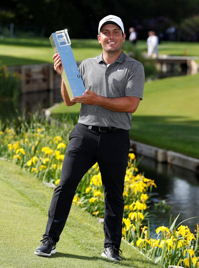 Golf - European Tour - BMW PGA Championship - Wentworth Club, Virginia Water, Britain - May 27, 2018 Italy's Francesco Molinari celebrates with the trophy after winning the BMW PGA Championship Action Images via Reuters/Paul Childs