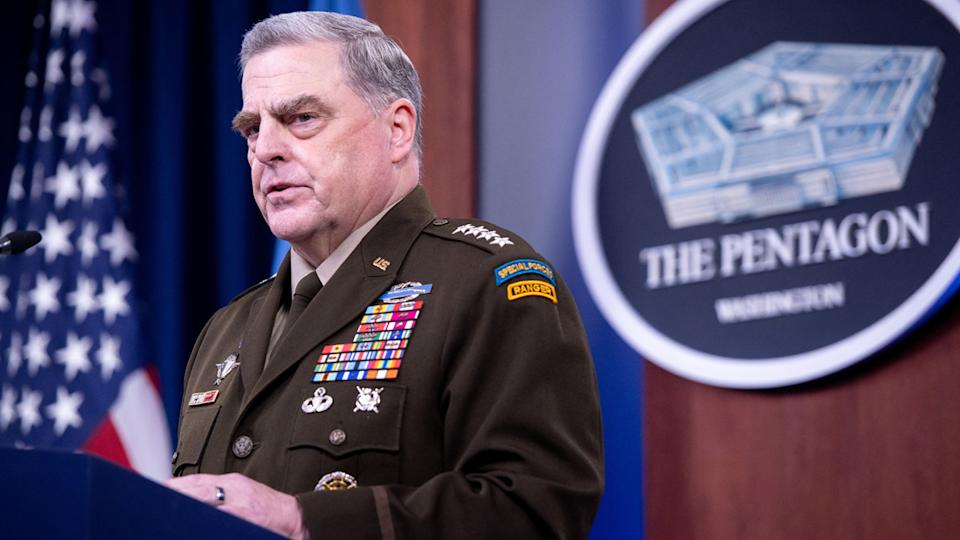US Army General Mark Milley, Chairman of the Joint Chiefs of Staff, holds a press briefing about the US military drawdown in Afghanistan, at the Pentagon in Washington, DC September 1, 2021. (Saul Loeb/AFP via Getty Images)