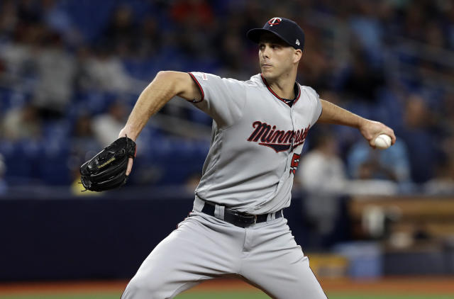 Minnesota Twins relief pitcher Taylor Rogers delivers to a Tampa Bay Rays batter during the ninth inning of a baseball game Friday, May 31, 2019, in St. Petersburg, Fla. (AP Photo/Chris O'Meara)