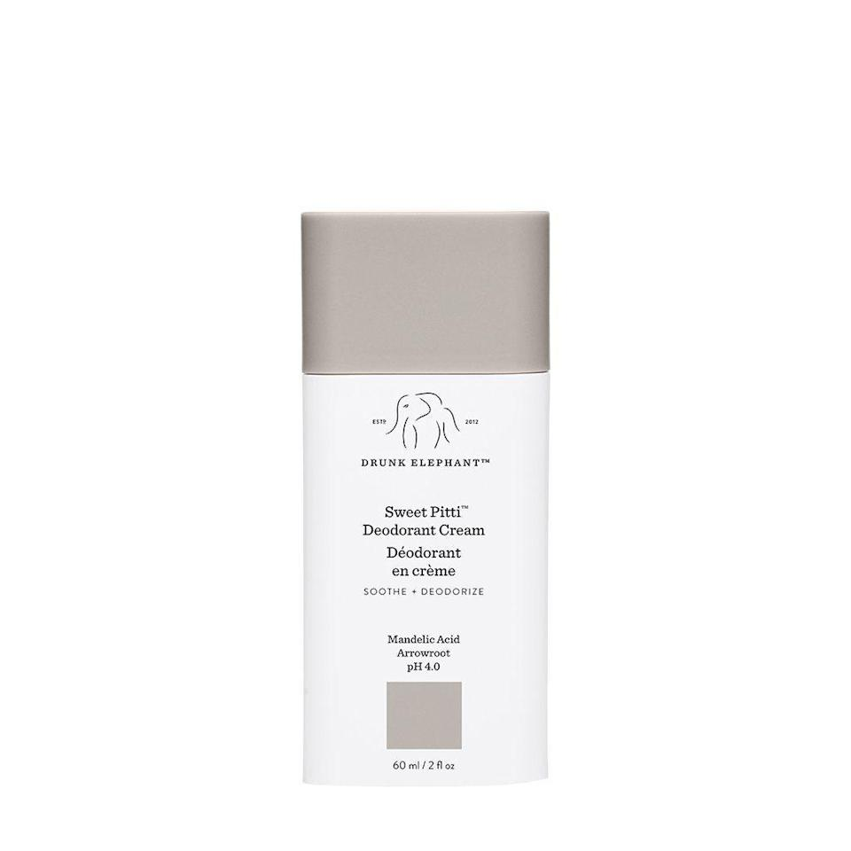 """<p><strong>Drunk Elephant</strong></p><p>sephora.com</p><p><strong>$16.00</strong></p><p><a href=""""https://go.redirectingat.com?id=74968X1596630&url=https%3A%2F%2Fwww.sephora.com%2Fproduct%2Fdrunk-elephant-sweet-pitti-deodorant-cream-P457685&sref=https%3A%2F%2Fwww.goodhousekeeping.com%2Fbeauty%2Fanti-aging%2Fg37003869%2Fdeodorant-for-sensitive-skin%2F"""" rel=""""nofollow noopener"""" target=""""_blank"""" data-ylk=""""slk:Shop Now"""" class=""""link rapid-noclick-resp"""">Shop Now</a></p><p>GH Beauty Lab Senior Chemist Sabina Wizemann uses this deodorant. """"We all seem not to like or tolerate 'natural' deodorants in my house; we all get itchy underarms (mainly baking soda-based ones seem to trigger that),"""" she says. """"I brought home Drunk Elephant Sweet Pitti Deodorant Cream, and we've been all enjoying it and also being itchiness-free. It is <strong>gentle and it keeps the B.O. at bay</strong>.""""</p>"""