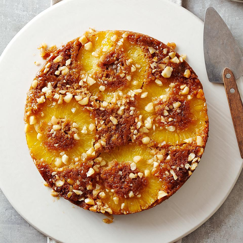 """<p>Adding whole-grain oatmeal to this upside-down cake and topping it with fresh pineapple makes this diabetic-friendly dessert right-side-up. <a href=""""http://www.eatingwell.com/recipe/263017/pineapple-oatmeal-upside-down-cake/"""" rel=""""nofollow noopener"""" target=""""_blank"""" data-ylk=""""slk:View recipe"""" class=""""link rapid-noclick-resp""""> View recipe </a></p>"""