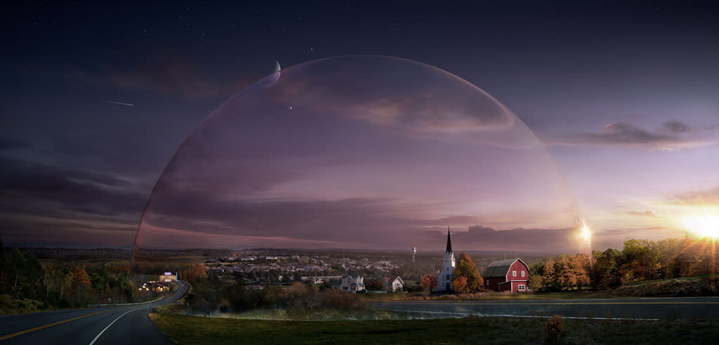 UNDER THE DOME, which premieres Monday, June 24 (10:00-11:00 PM, ET/PT) on CBS, is based on Stephen King's best-selling novel about a small town that is suddenly and inexplicably sealed off from the rest of the world by a massive transparent dome.  The town's inhabitants must deal with surviving the post-apocalyptic conditions while searching for answers to what this barrier is, where it came from and if and when it will go away.  Photo: CBS/ CBS ©2013 CBS Broadcasting Inc. All Rights Reserved.