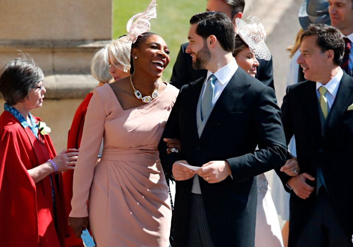 Meghan Markle's friend, US tennis player Serena Williams and her husband US entrepreneur Alexis Ohanian arrive for the wedding ceremony of Britain's Prince Harry, Duke of Sussex and Meghan Markle at St George's Chapel, Windsor Castle, in Windsor, on May 19, 2018. (Photo by Odd ANDERSEN / POOL / AFP | ODD ANDERSEN—AFP/Getty Images
