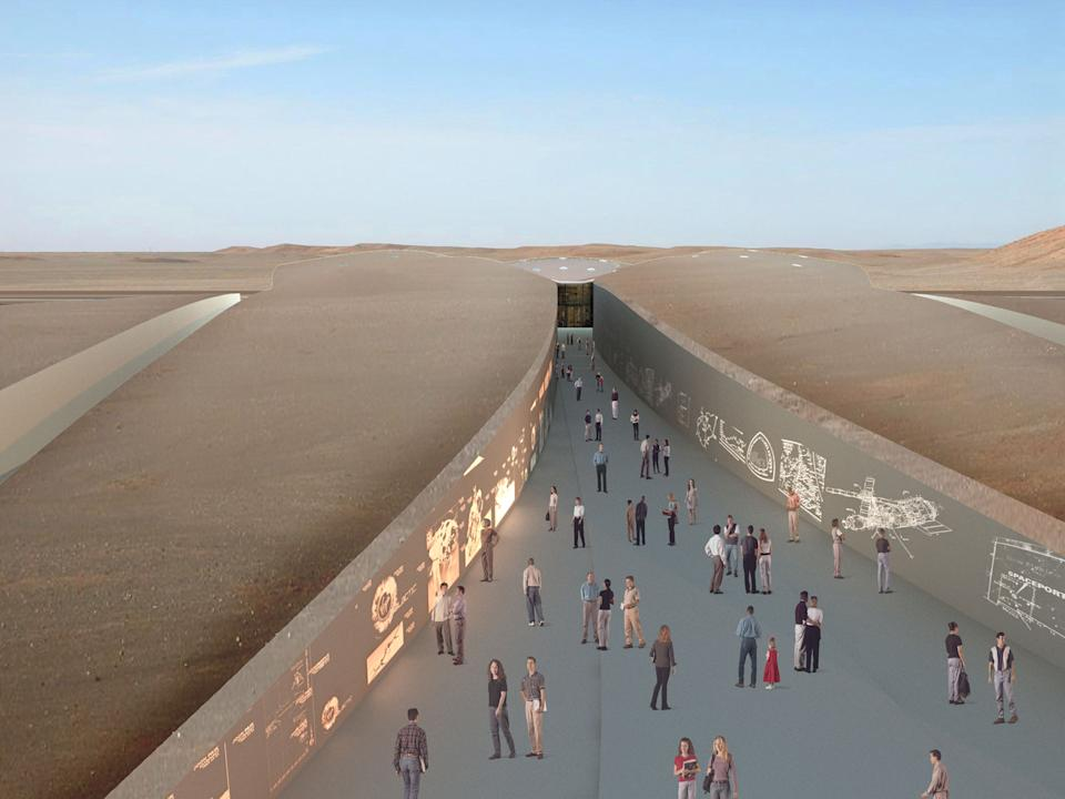 2007 design rendering of the Spaceport America entrance, which will be home to Virgin Galactic's fleet of spaceships.