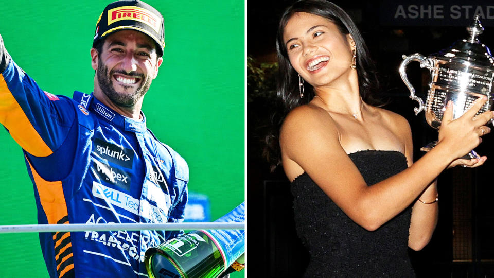 Daniel Ricciardo and Emma Raducanu, pictured here after their respective victories.