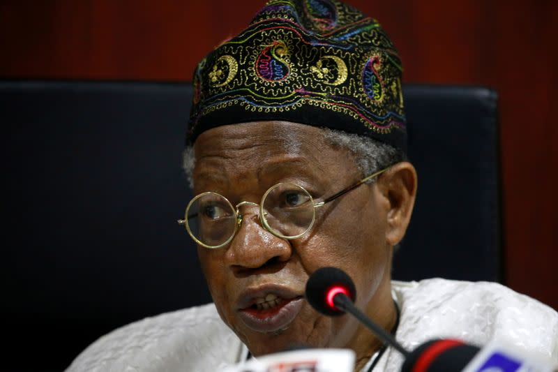 FILE PHOTO: Nigeria's Information Minister holds news conference on police protests