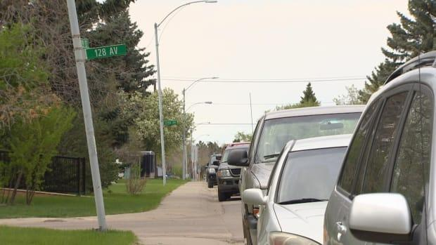 A woman was found dead by police Saturday morning in the area of 129th Street and 128th Avenue. (Sam Martin/CBC - image credit)