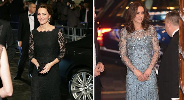 Kate at the Royal Variety Performance in 2014 and 2017. [Photo: Getty]