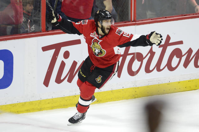 """<a class=""""link rapid-noclick-resp"""" href=""""/nhl/players/3987/"""" data-ylk=""""slk:Derick Brassard"""">Derick Brassard</a> seems to have finally found his footing with the <a class=""""link rapid-noclick-resp"""" href=""""/nhl/teams/ott/"""" data-ylk=""""slk:Ottawa Senators"""">Ottawa Senators</a>. (Adrian Wyld/The Canadian Press via AP)"""