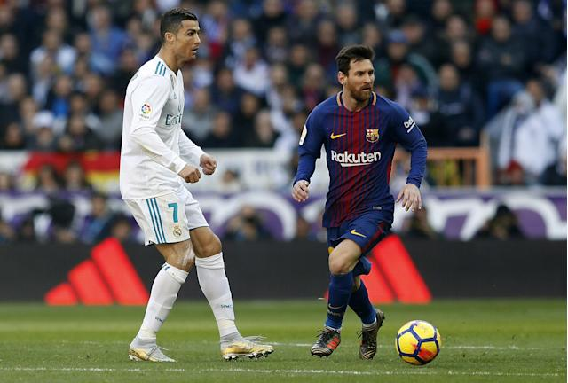 """The decline of <a class=""""link rapid-noclick-resp"""" href=""""/soccer/players/cristiano-ronaldo/"""" data-ylk=""""slk:Cristiano Ronaldo"""">Cristiano Ronaldo</a> (7) and the continued burden on <a class=""""link rapid-noclick-resp"""" href=""""/soccer/players/lionel-messi/"""" data-ylk=""""slk:Lionel Messi"""">Lionel Messi</a> are two of 2018's most tantalizing storylines in world soccer. (Getty)"""