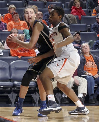 Duke's Haley Peters, left, works against Virginia forward Sarah Imovbioh (42) during an NCAA college basketball game Friday, Feb. 8, 2013, in Charlottesville, Va. (AP Photo/Andrew Shurtleff)