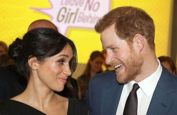 PHOTO: Britain's Prince Harry and his fiancee, Meghan Markle, attend a reception for Women's Empowerment at the Royal Aeronautical Society in central London, April 19, 2018. (Chris Jackson/AFP/Getty Images)