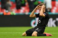 Germany forward Thomas Mueller reacts after a missed chance against England
