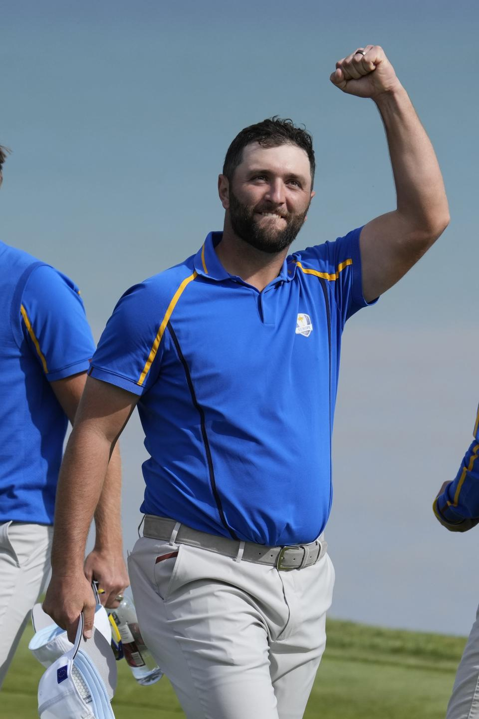 Team Europe's Jon Rahm reacts after winning their foursome match the Ryder Cup at the Whistling Straits Golf Course Friday, Sept. 24, 2021, in Sheboygan, Wis. (AP Photo/Ashley Landis)