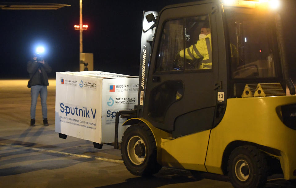 Russia's Sputnik V coronavirus vaccine arrives at Kosice Airport, Slovakia, Monday March 1, 2021. Hard-hit Slovakia signed a deal to acquire 2 million dozes of Russia's Sputnik V coronavirus vaccine. The country's prime minister says Slovakia will get one million shots in next two months while another million will arrive in May and June. (Frantisek Ivan/TASR via AP)