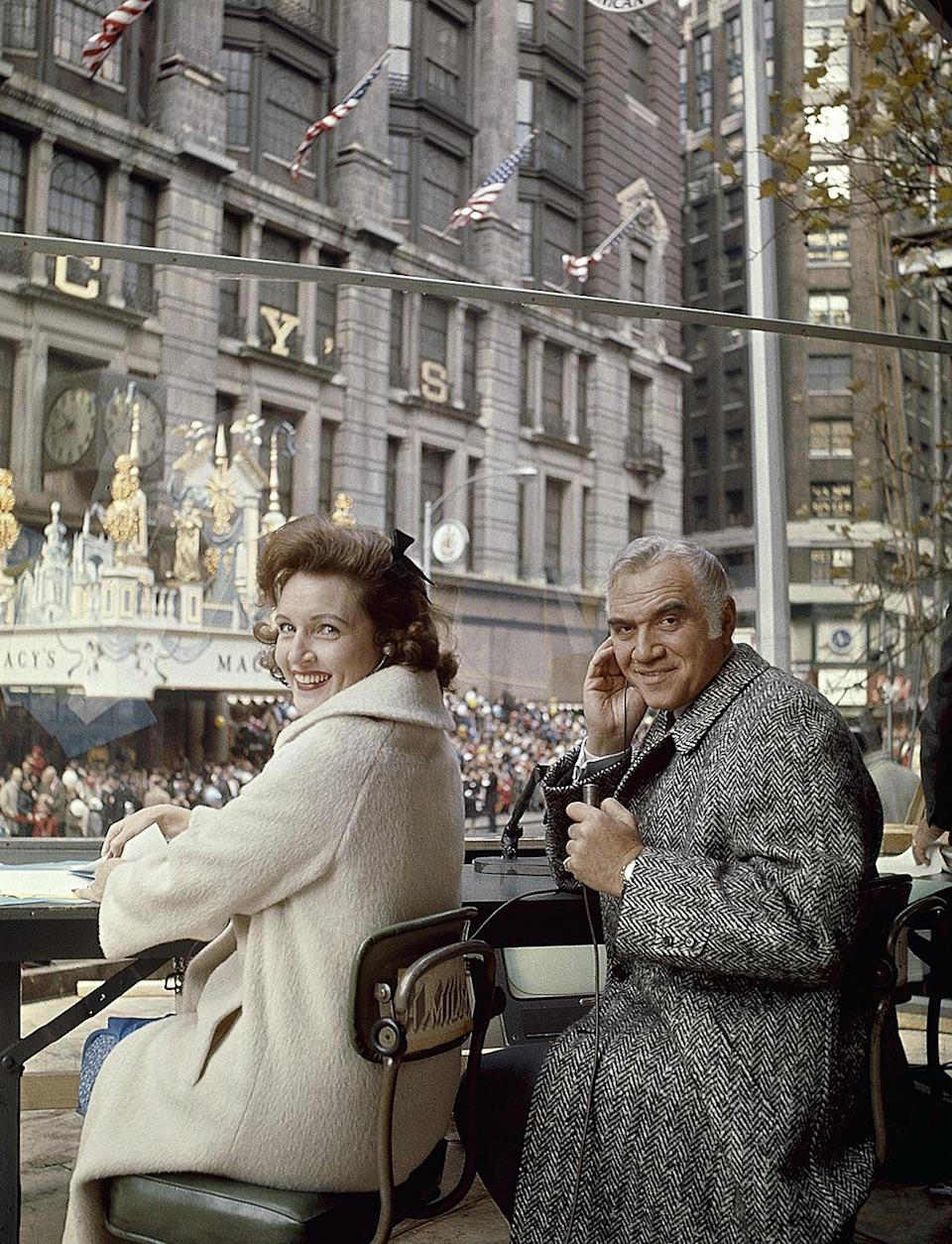 <p>She also was the host of some pretty coveted gigs herself! She hosted the Macy's Thanksgiving Day Parade for 10 years alongside Lorne Greene. Here, the pair sits and watches as floats go by in 1965. </p>