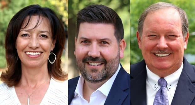 Vancouver School Board trustees, from left, Carmen Cho, Oliver Hanson and Fraser Ballantyneall quit the NPA on April 24. (Non-Partisan Association - image credit)