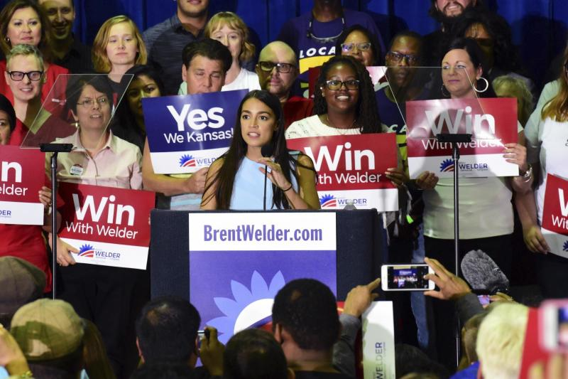 New York congressional candidate Alexandria Ocasio-Cortez speaks in support of Kansas Democrat Brent Welder in Kansas City, Kansas, on Friday night. (Luke Harbur /The Kansas City Star via AP)