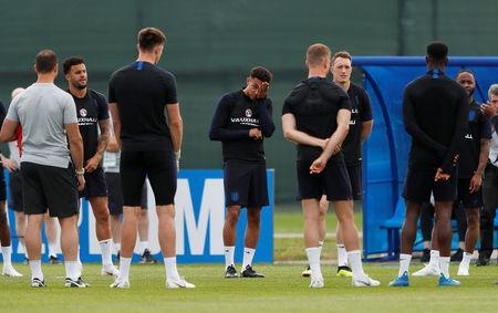 Soccer Football - World Cup - England Training - England Training Camp, Saint Petersburg, Russia - June 17, 2018 England's Trent Alexander-Arnold with team mates during training REUTERS/Lee Smith
